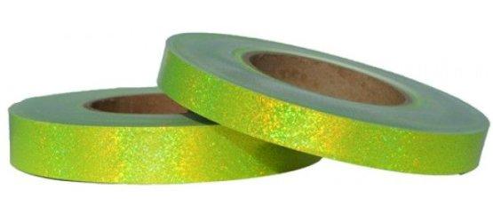Holografische glitter tape fluor geel fluorescent yellow hologlitter